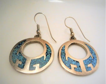 Large Turquoise Inlay Circle Sterling Silver TAXCO Dangle Earrings (12 gms) Vintage Sterling Silver Turquoise Inlay Earrings, TAXCO earrings