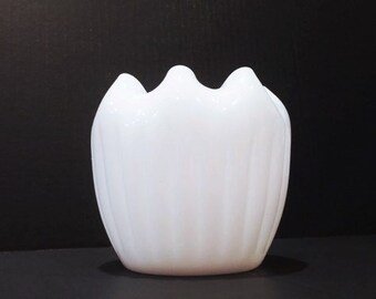 Vintage Fenton Milk Glass Rose Bowl, Milk Glass Bowl