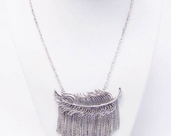 Antique Silver Filigree Leaf w/Dangling Chains Necklace