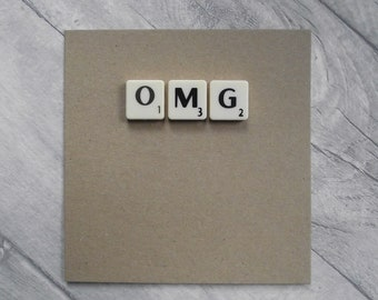 OMG card // OMG scrabble card // Congratulations card // Graduation card // Handmade // Recycled materials // Guess what card