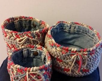 Crocheted tshirt baskets (set of 3)