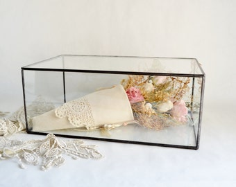 Glass Case , Large Glass Display Box, Glass Jewelry Box, Wedding Display Box, Clear Glass Jewelry Box