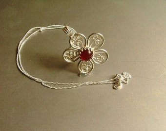 Pendant: Sterling silver Filigree Flower with 8mm Carnelian cabochon