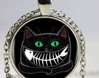 A beautiful necklace with a glass cabochon 25 mm smiling cat