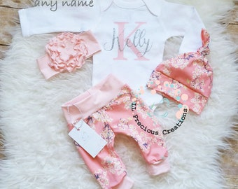 Baby Girl Clothes Monogrammed Bodysuit Baby Girl Coming Home Outfit Birthday Girl Outfit Personalized Baby Outfit Pink Floral Outfit