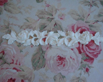"Antique Roses & Leaves Moulding Trim 14"" Furniture Applique Architectural Onlay"