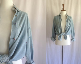 Vintage chambray button-up shirt with jewels / denim