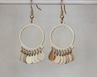 Gold Circle Earrings, Brushed Gold Earrings, Brushed Gold Dangle Earrings