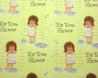 Vintage Wedding or Bridal Shower Wrapping Paper or Gift Wrap with Cute Girl in Shower with Towel Yellow Background