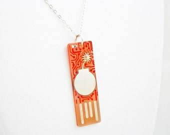Bomb USB Circuit Board Silver Necklace - LIGHTS UP