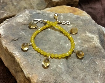 Citrine Bracelet - November Birthstone Bracelet - Gemstone Bracelet - Crystal Bracelet- Yellow Citrine Bracelet - Citrine Briolette Earrings