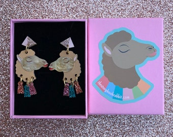 Small Dangly Camel & Tassle Pyramid Stud Earrings- Gold Carmen Camel Laser Cut Earrings Handmade Egyptian Camels