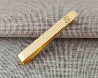 Gold Monogram Tie Clip,Gold Wedding Tie Clip,Engraved 3 Letters Tie Clip,Gold Tie Bar Clip,Wedding Tie Pin,Custom Groomsmen Tie Clip
