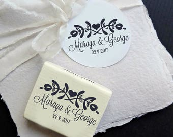 Custom Wedding  Stamp, Floral Wedding Custom Stamp, Personalizable Wedding Rubber Stamp, Custom Stamp DIY Wedding Favors  -0955260117-