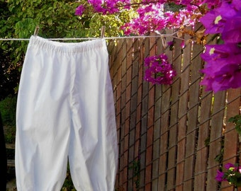 Ready now!  Girls Large WHITE Basic Bloomers Cotton No Lace