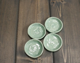 Handmade Tea Bag holder, Set of 4, Spoon holder, Light Green with White highlights.