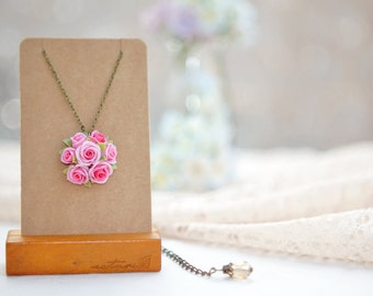 pink rose flowers necklace ,polymer clay handmade rose