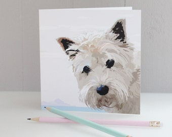 Greeting card Westie by the Sea