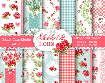 Shabby Chic Digital paper 12 x 12 in AND 8.5x11 in -Shabby chic rose for scrapbooking, invites, cards, pink and blue