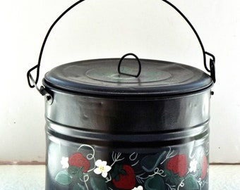 Vintage  Handpainted Metal  Pot/Can/Planter   Strawberries