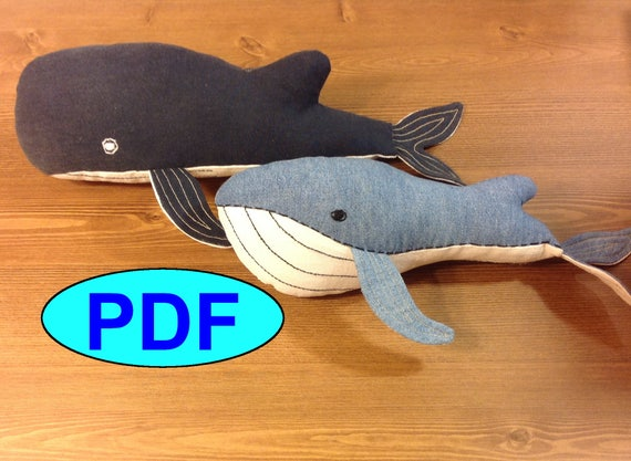 Set two different whales pattern whale sewing pattern tutorial
