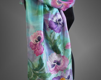 Pansy silk scarf. Hand painted scarf . Turquoise silk scarf. Floral silk scarf. Made to order.