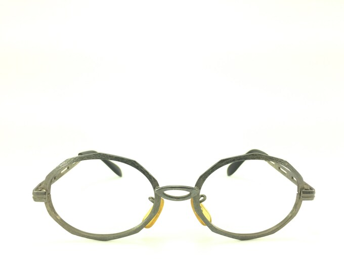 60s Vintage Eyeglasses | Gunmetal Grey Round Glasses | Cutout Temples | NOS Eyeglass Frame | Deadstock Eyewear - First Lady