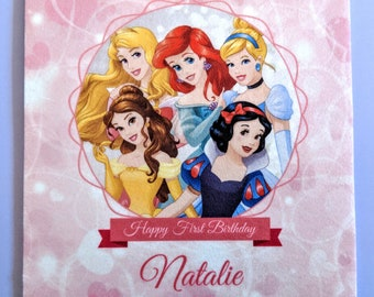 Disney Princess Card - Luxury Fabric Printed Birthday Card - Ariel Belle Rapunzel Sleeping Beauty Snow White Tiana Frozen Anna Elsa