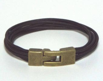 Brown Leather Wristband - Armband - Bracelet