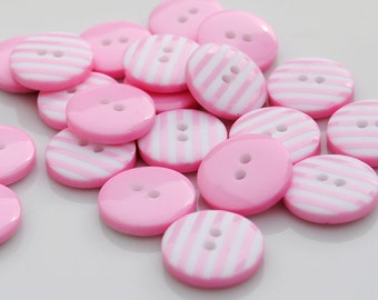10 Pale Pink Stripy Buttons (12mm)