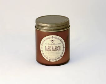 Dark Harbor Candle || 8.5 oz Scented Candle || Soy + Beeswax Blend Candle in Amber Jar
