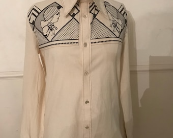 1970's vintage Malcolm Hall biba/ art deco design large pointed collar shirt