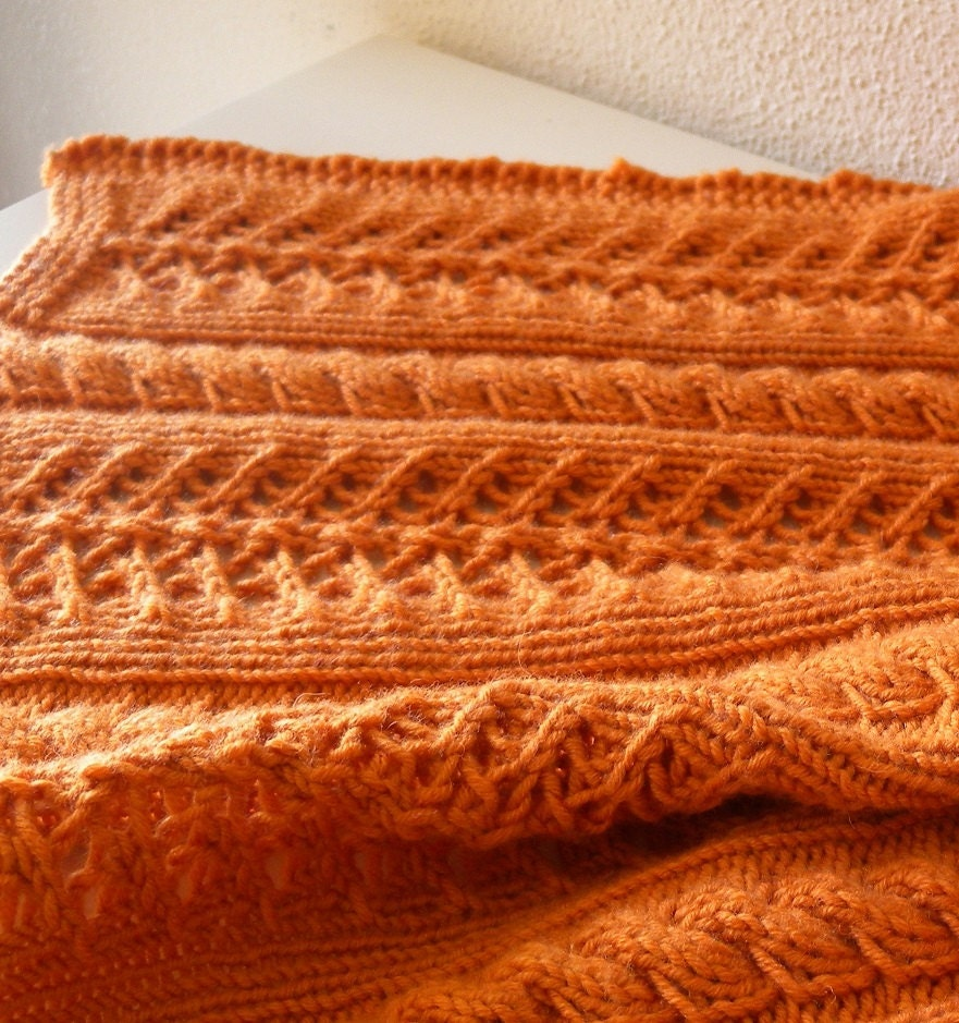 Cables and Lace Shawl knitting pattern, large rectangle stole for ...