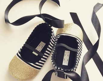 Baby Girl Shoes Toddler Girl Shoes Infant Shoes Soft Soled Shoes Black and White Stripes Flower Girl Shoes Birthday Girl Shoes - Zoe