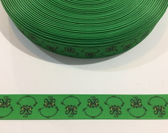 "3 Yards of 7/8"" Ribbon - Grinch Green Face"