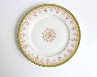 Vintage Ring Dish, Floral Ring Dish, Flower Ring Dish, Green Ring Dish, Trinket Dish, Ring Dish, Jewelry Dish, Green & White, Limoges, Plate