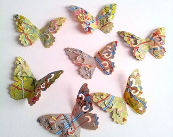 Set of 6 paper - map - multicolored butterflies