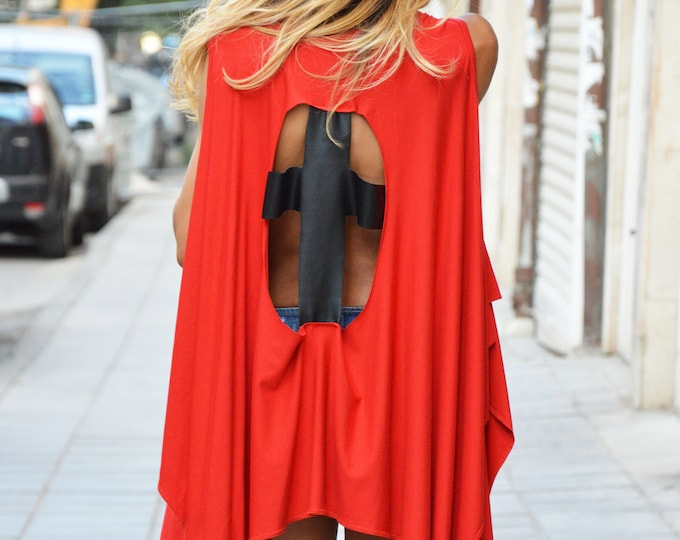 Extravagant Tunic With Leather Cross, Plus Size Clothing, Loose Tunic With Open Back, Red Cotton Top by SSDfashion