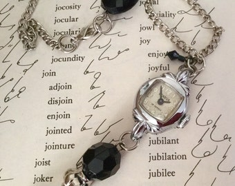 Geneva Watch Necklace , Vintage Timepiece ,  Silver Watch  , Up Cycled Watch , Old Watch Jewelry by VintageRedo