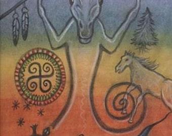 Horse Spirit Petroglyph Portrait - Belly Gateway Chakra - Personal Power - by shamanic healing artist Azurae Windwalker