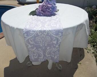 Lavender damask table runner