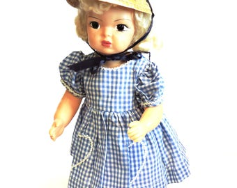 "Blue Gingham Doll Dress, Vintage Handmade Short Sleeve Heart Pocket Day Dress, 16"" - 18"", 1950s Mid-Century Doll Clothes itsyourcountry"