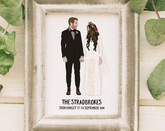 Wedding Portrait, Custom Couple Portrait, Custom Illustration, Wedding Illustration, 1st Wedding Anniversary Gifts, First Anniversary Gift