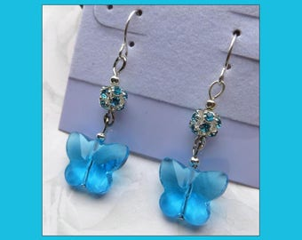 BUTTERFLY SKY- Handcrafted Women's Beaded Earrings- Sparkling Crystal Beads- Lever Back Ear Wires