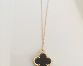 Lucky you in turquoise color quatrefoil charm turquoise lucky you in onyx black color black quatrefoil charm black clover pendant 14k gold filled aloadofball Choice Image
