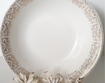 Vintage China, Serving Bowl, Cream/Gold Floral Trim, Mismatched Dishes, Shabby Chic, Wedding, Dinner Party, Tea Party, Luncheon, Gift,