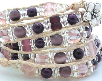 Handmade Four Wrap Hemp Wrap Bracelet with Purple Cats Eye Beads and Clear Seed Beads
