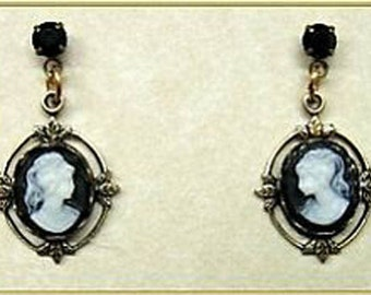 Handcrafted 24k Gold Plated Vintage Style Black Jet Crystal Cameo Post Earrings