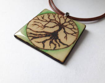 Woodburned Pendant Necklace - Tree of Life with Green Ombre - Large Square
