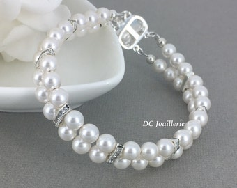 Swarovski Pearl Bracelet Double Strand Bridesmaid Gift Bridesmaid Maid of Honor Gift for Her Wedding Swarovski Jewelry Bridal Bracelet